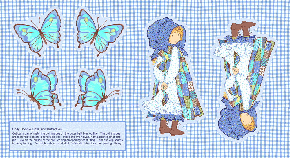 Blue Girl panel Dolls and Butterflies